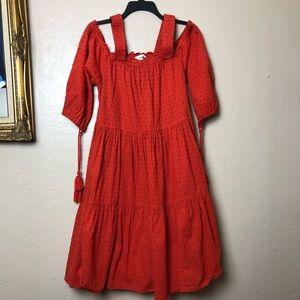 Off-shoulder Orange H&M Textured Dress